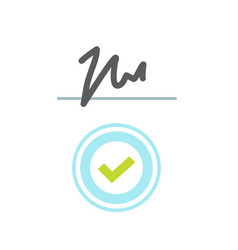 Stamp seal approved and signature handwritten vector