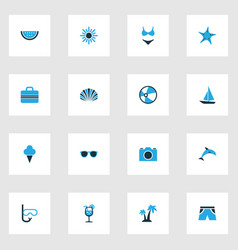 Summer colorful icons set collection of sun vector