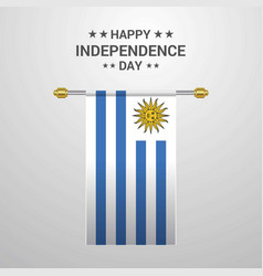 Uruguay independence day hanging flag background vector