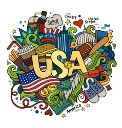 USA hand lettering and doodles elements background vector