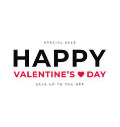 valentines day sale banner design happy vector image