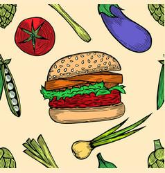 vegetable set sketch vector image