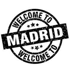 welcome to madrid black stamp vector image