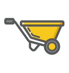 Wheelbarrow filled outline icon build and repair vector