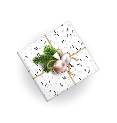 Xmas gift box top view realistic vector