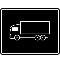 black icon with shipping truck vector image