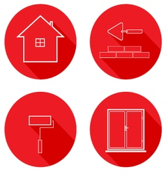 Flat icons line housing construction vector image