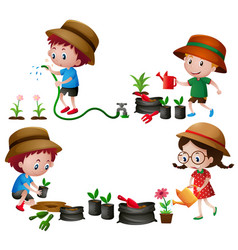 four kids watering and planting trees vector image vector image