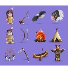Native American Cartoon Icons vector image