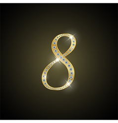 Shiny number Eight of gold and diamond vector image