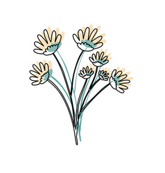 Watercolor silhouette of hand drawing yellow daisy vector