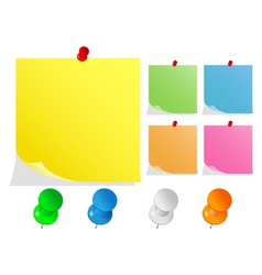 paper notes with push pins vector image