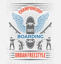 poster in retro style for skateboarding vector image vector image