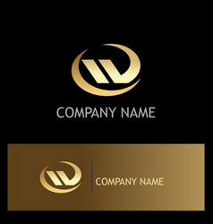 shape abstract letter w gold logo vector image