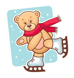 teddy bear skating vector image vector image