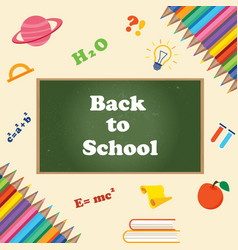 back to school banner with chalkboard vector image