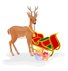 Christmas Reindeer with Santa sleigh and gifts vec vector image