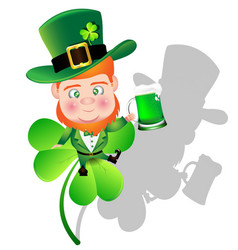 irish man irish man hold beer on shamrock for st vector image vector image