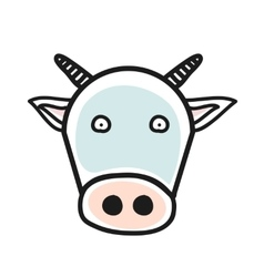 Cartoon animal head icon Cow face avatar for vector image vector image