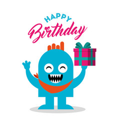 happy birthday card with monster vector image