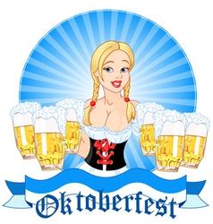 Oktoberfest girl serving beer vector