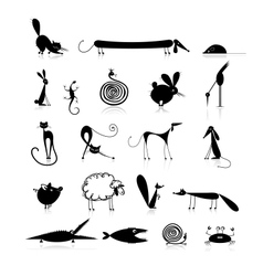 Set of 20 animals black silhouette for your design vector image