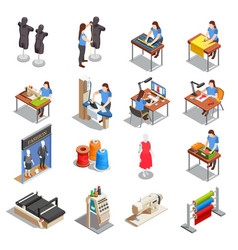 sewing factory isometric icons set vector image vector image