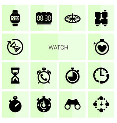 14 watch icons vector image