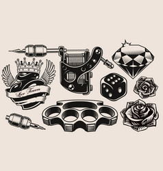 a set black and white for tattoo theme vector image