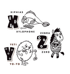 alphabet letter x y z depicting an hiphias yeti vector image