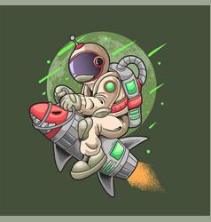 Astronaut ride rocket travel the universe vector