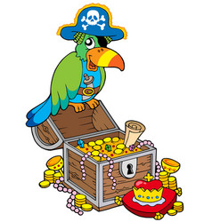 Big treasure chest with pirate parrot vector