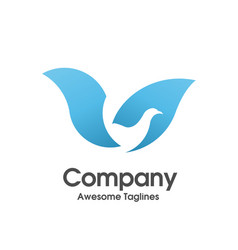 bird blue color logo vector image