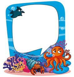 border template with scene underwater in vector image
