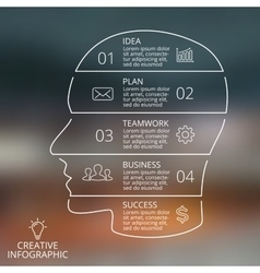 Brain linear blur infographic template for vector