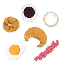 breakfast objects top view collection eps10 vector image