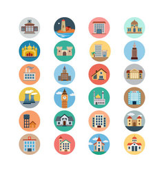 Buildings Flat Colored Icons 2 vector image
