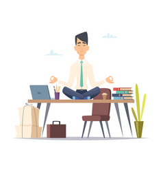 Businessman yoga meditation office relax in vector