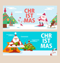 cards for the new year with santa claus beautiful vector image