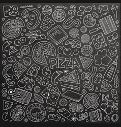 Cartoon set of pizzeria objects and symbols vector