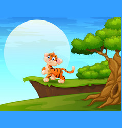 cartoon tiger smiling near the cliff vector image