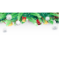 christmas tree branches and ornaments vector image