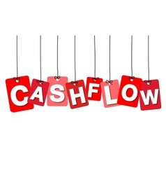 colorful hanging cardboard tags - cashflow vector image