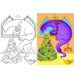 Coloring Book Of Genie Conjured A Christmas Tree vector image