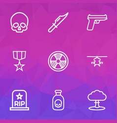 Combat icons line style set with radiation rip vector