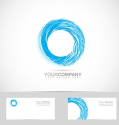 Corporate blue grunge circle logo vector image
