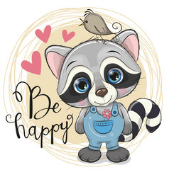 Cute cartoon raccoon with flower vector