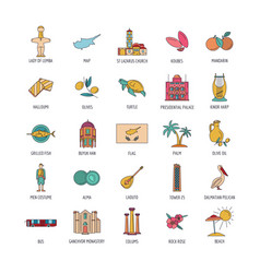 Cyprus icons set cartoon style vector