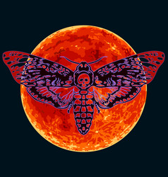 death head hawkmoth on full red moon vector image