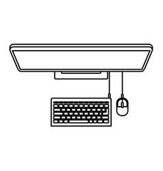desktop computer on top view in black contour vector image